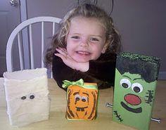 """Easy Kids Craft: 2x4"""" Wood Block Halloween heads (Mummy, Pumpkin, and Frankenstein)"""