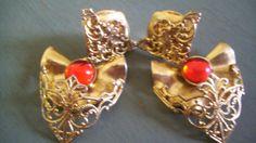 Vintage 80s Earrings Gold Filigree Red Rhinestone by JirjiMirji, €48.00