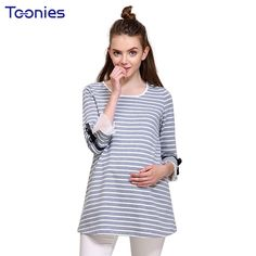7ca26962aa Strip Pregnancy Clothes Maternity Clothing Maternity T-shirt Tops Nursing  Breastfeeding Clothes For Pregnant Women