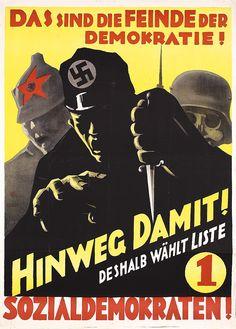 RARE Original 1930 German Anti-Hitler Propaganda Poster
