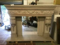 BEAUTIFUL LARGE FRENCH STYLE CARVED MARBLE FIREPLACE MANTEL - JD801 Marble Fireplace Mantel, Marble Fireplaces, Fireplace Mantels, French Style, Entryway Tables, Carving, Windows, Beautiful, Ebay