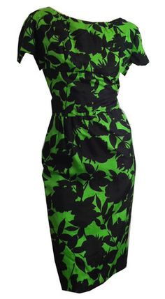 Brilliant Green Silk Black Leaf Print Cocktail Dress & Jacket circa 19 - Dorothea's Closet Vintage