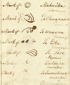 Signatures on the East Coast sheet of the Treaty of Waitangi