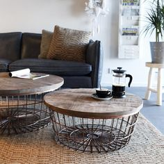 Beistelltisch NEW GLORY Ø 90 cm kupfer rund Couchtisch Kaffeetisch Holz Metall