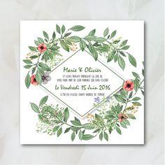 Avec sa couronne et fleurs et de feuillages, ce faire part est idéal pour un mariage champêtre et bucolique ou pour les amoureux de la nature.