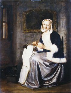 Gabriel Metsu - A Lady Working Lace, Gemäldegalerie Dresden