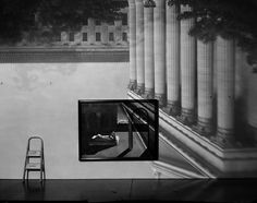 Abelardo Morell (1948-), Camera Obscura image of the Philadelphia Museum in gallery with a DeChirico painting, 2005. Archival ink print mounted to aluminum.