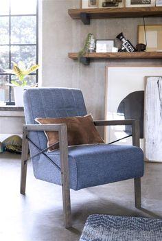 Northon, fauteuil avec accoudoir en bois vintage clay / white / black