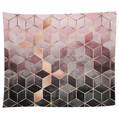 Pink Grey Gradient Cubes Tapestry