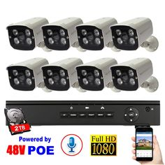 Voice Recording+Waterproof+Night Vision+2TB HDD 8CH Security System 48V POE IP Camera 1080P Surveillance System NVR Kit  Price: 564.25 & FREE Shipping  #tech #electronics #bluetooth #computers Surveillance System, Ip Camera, Shutter Speed, Hdd, Night Vision, The Voice, Electronics Gadgets, Tech Gadgets