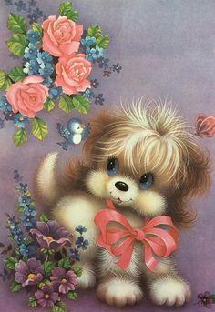 Cute Animal Illustration, Cute Animal Drawings, Cute Drawings, Cute Images, Cute Pictures, Vintage Greeting Cards, Kids Cards, Animal Paintings, Cat Art