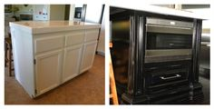 before & after kitchen remodel  under counter wolf microwave drawer.  great idea, opens up area over stove.