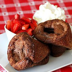 Oh!  Chocolate Popovers with Strawberries and Whipped Cream