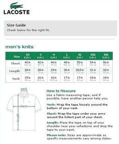ASOS t-shirts and polo shirts size chart and measuring guide for ...