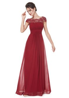 Scoop Floor Length Red Cap Sleeve A-Line Party Dress