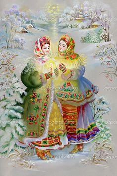 Молодих дівчат у традиційних костюмах