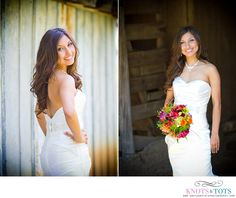 Flattering bridal poses in natural lighting. Love the slight vignette on the first because it moves focus completely to the bride. Love the contrast between the natural light and the shadowed background in the second. Relaxed and pretty.