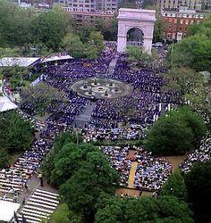 NYU graduation in Washington Square Park