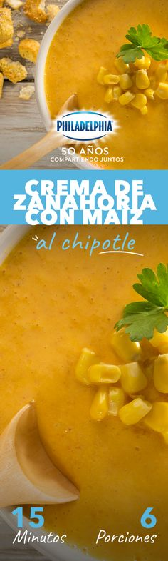 Con esta Crema de zanahoria con maíz al chipotle vas a pedir doble porción. #recetas #receta #quesophiladelphia #philadelphia #quesocrema #queso #comida #cocinar #cocinamexicana #recetasfaciles #recetasPhiladelphia #cocina #comer #zanahoria #maíz Blueberry Mojito, Mexican Food Recipes, Cantaloupe, Healthy Life, Food And Drink, Easy Meals, Veggies, Vegan, Dinner