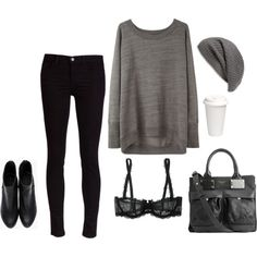 A fashion look from February 2013 featuring rag & bone sweaters, J Brand jeans and Chantelle bras. Browse and shop related looks.