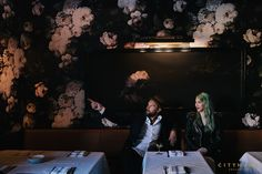 Cody Derrick and Lauren Bald of cityhomeCOLLECTIVE. Designers of the new Finca restaurant in downtown Salt Lake City. #floral #wallpaper #design #elliecashman #brass #custom #art #interiordesign