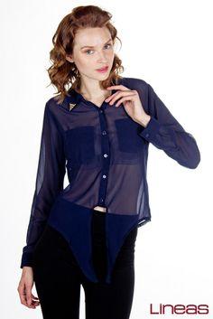 Blusa: modelo 17456. Precio $200 MXN #blusa #casual #outfit #cool #Lineas #fashion #prendas #ropa #moda #formal #azul