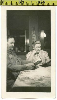 Vintage 1940's photo / Elderly Farm Couple Reading Scripture at Kitchen Table