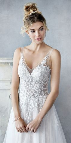 Ella Rosa BE432   plain tulle skirt   stunning lace bodice with low back and straps   romantic wedding gown #weddinggown #weddingdress