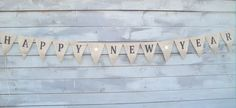 Items similar to Happy New Year burlap banner - Holiday garland on Etsy Burlap Bunting, Bunting Garland, Buntings, Wedding Hire, Handmade Gifts, Banners, Etsy, Rustic, Happy