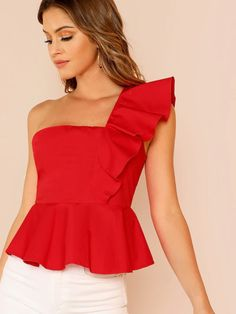 Shop Ruffle Trim One Shoulder Peplum Top online. SheIn offers Ruffle Trim One Shoulder Peplum Top & more to fit your fashionable needs. Peplum Tops, Crop Tops, Ruffle Trim, Ruffle Dress, Lace Trim, Plain Tops, Summer Blouses, One Shoulder Tops, Shoulder Sleeve