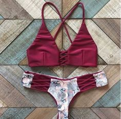 9a5798665a Cute hollow out wine red two piece bikini