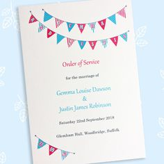 Bunting wedding order of service Wedding Order Of Service, Pressed Leaves, Wood Bridge, On Your Wedding Day, Bunting, Wedding Stationery, Marriage, Cards, Handmade