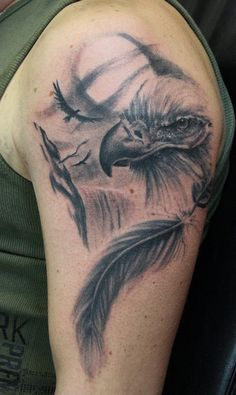 25 eagle_and_feather_by_simplytattoo