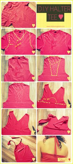 This is how you can rip your guy's tee shirt and turn it into a gorgeous Halter Tee ♥ #DIY