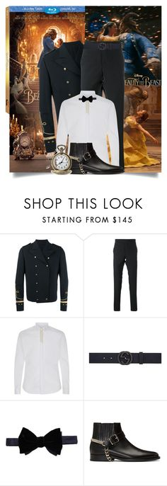 """Beast"" by tina-abbara ❤ liked on Polyvore featuring Disney, Emma Watson, Ports 1961, Thom Browne, Gucci, Lanvin, Balmain, men's fashion, menswear and BeautyandtheBeast"