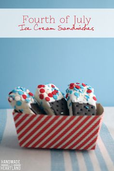 Delicious easy DIY treats for the fourth of july, decorated ice cream sandwiches.