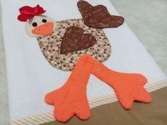 Pano de copa tecido 100% algodão Tema galinha com pernas pendurados em 3d