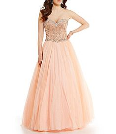 Glamour by Terani Couture Strapless Sweetheart Neckline Beaded Corset Ball Gown #Dillards