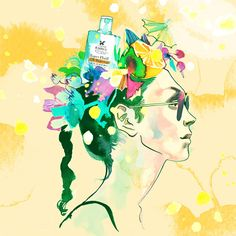 Dreamy #watercolor #illustration by Eili-Kaija Kuusniemi for Kiehls sunscreen