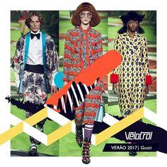 Após anunciar a unificação dos desfiles masculinos e femininos, a Gucci apresentou sua coleção masculina de Verão 2017 em Milão na segunda (20.06) com diversos looks femininos na passarela. Inspirada em viagens, explorações e o universo do diretor Wes Anderson, a coleção apostou também no habitual decorativismo utilizado por Alessandro Michele, diretor criativo da marca. #velotrol #velotroldesign #gucci #alessandromichele #estampas #print #estampariadigital #estampaexclusiva #surfacedesgin…