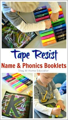 Tape Resist Name and Phonics Booklets - This is a very personal and individualized way for preschoolers to learn how to spell their names in addition to the sounds associated with each letter in their name. This tape resist name activity combines fine mot Letter Identification Activities, Name Activities, Alphabet Activities, Infant Activities, Learning Activities, Kids Learning, Activities For Kids, Preschool Alphabet, Abc Phonics