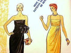 Vintage 1980s Vogue Gown Dress Pattern Misses size 14 strapless Dress or spaghetti strap Dress