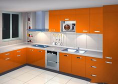 Simple Kitchen Design With Light Orange Theme Kitchen Cabinets And L Shape Kitchen Island With White Limestone Countertops With Modern Furniture And Kitchen Furniture Stores of Engaging Cool Kitchen Furniture Design from Furniture Ideas Simple Kitchen Design, Kitchen Room Design, Kitchen Cabinet Design, Interior Design Kitchen, Kitchen Decor, Kitchen Furniture, Kitchen Colors, Kitchen Ideas, Furniture Design