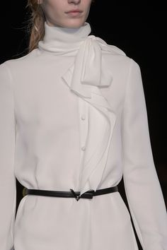White shirt dress with neck bow & frill placket; chic fashion details // Valentino Fall 2015