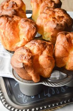 The Biggest Fattest Fluffiest Popover Recipe is SO easy. You need just a few pan… The Biggest Fattest Fluffiest Popover Recipe is SO easy. You need just a few pantry staples! You can make this recipe with a popover pan or a muffin tin. Scones, Brunch Recipes, Breakfast Recipes, Breakfast Muffins, Yorkshire Pudding Recipes, Popover Pan, Dinner Rolls, Baking Recipes, Bread Recipes