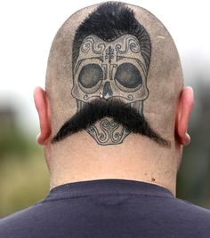 Back off the head tattoos   ... Tattoo Lover Decorates the Back of His Head for Movember - Softpedia