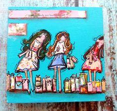 Art on Wood block ,Good Friends , Blue, Collage- pieced girls