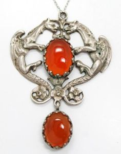 Vintage-Mid-20c-Italy-Double-Dragon-Carnelian-800-Silver-Pendant-Necklace
