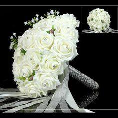 Wedding Bridal Bouquet Rose Hand Holding Flower With Artificial Crystal Gemstone Gypsophila