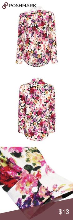 Floral Collard Top Floral print. Point collar. Button down front. Regular fit. 100% polyester. yoins Tops Button Down Shirts